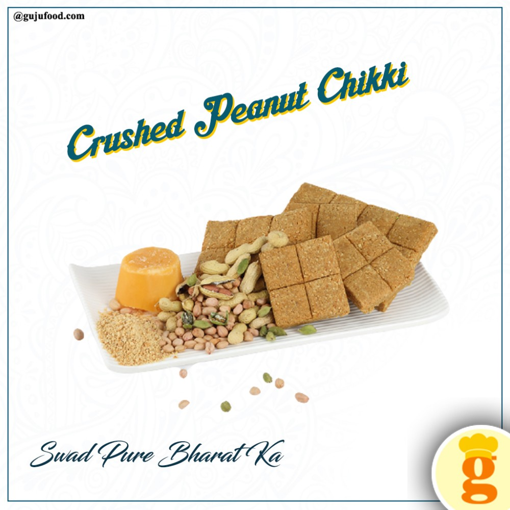 Crushed Peanut Chikki 450 Grams From Gujufood